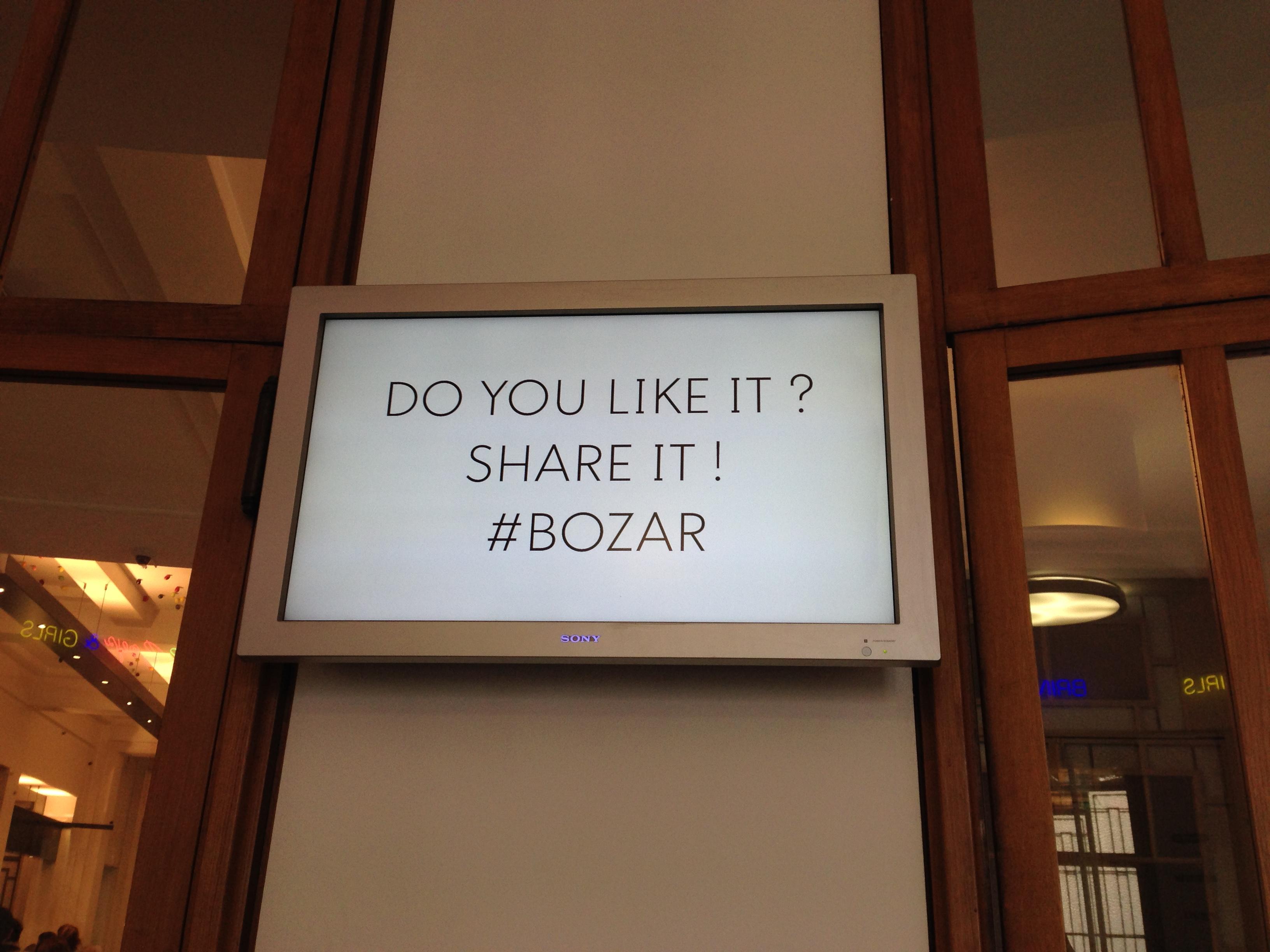 Invitation à utiliser le hashtag #BOZAR, BOZAR, Bruxelles, mars 2016